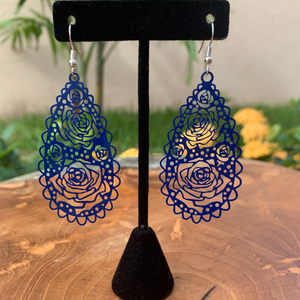Blue Filigree Tear Drop Shape Lightweight Earrings