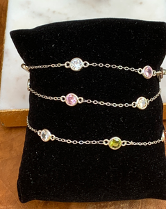 Silver Tone and Multi Color Crystal by the Yard 3 Way Mask Holder Chain. Necklace, Bracelet
