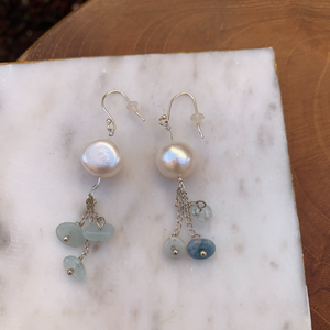 Sterling Silver with Pearl and Light Blue Stone Dangling Earrings