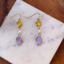 Load image into Gallery viewer, Gold Tone Earrings with Pearls and Citrine and Purple Crystal Drops