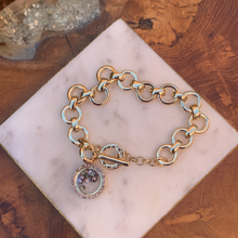 Load image into Gallery viewer, Gold Tone Link Bracelet with Floating Crystal Charm