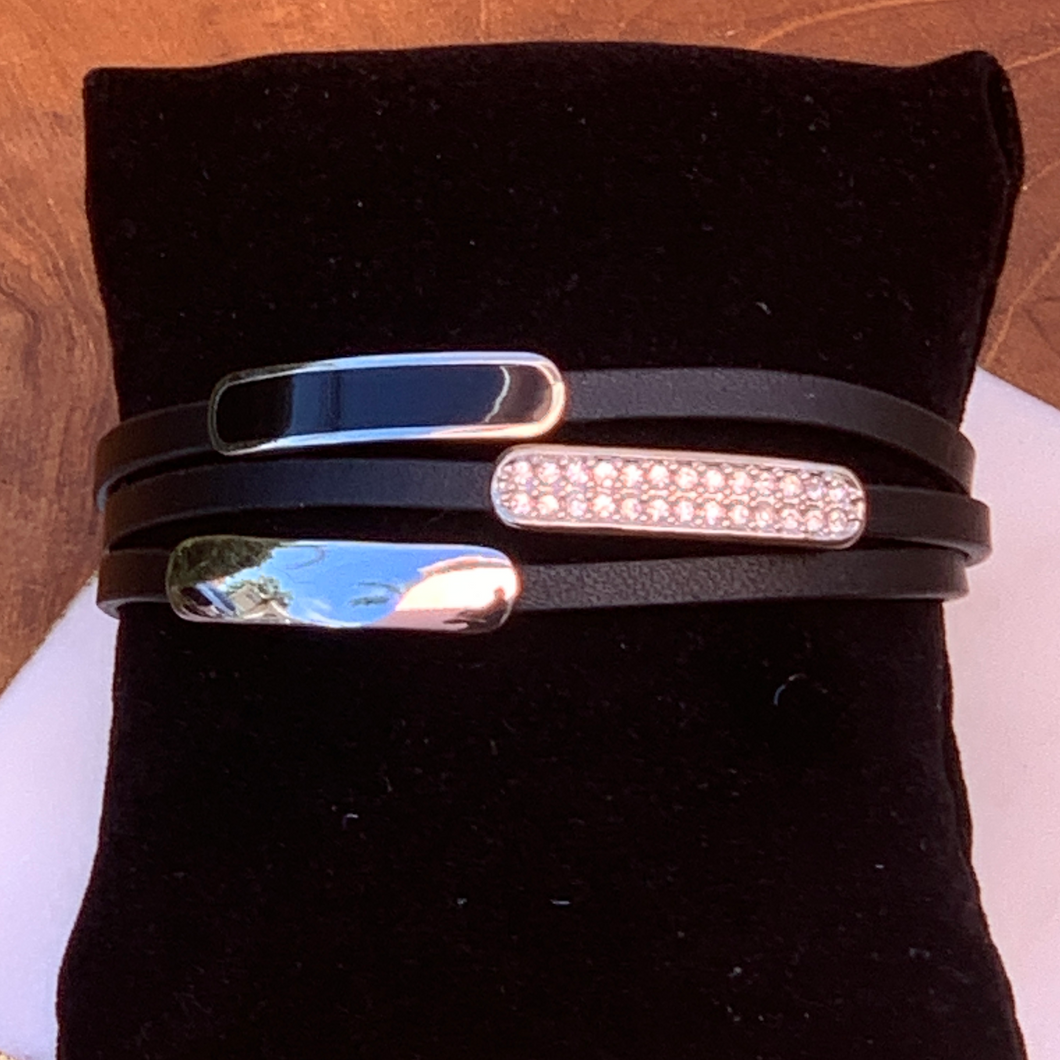 Black Leather Three Strand Silver Accent Bracelet