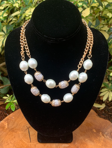 Two Row White Pearl and Gold Sparkle Necklace