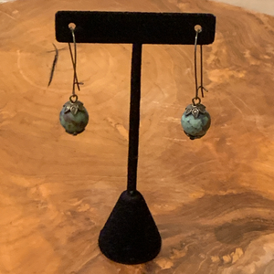 Blue Green Brown Natural Stone and Crystal Beads Drop Earrings
