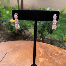 Load image into Gallery viewer, Silver Tone Graduating Cubic Drop Earrings