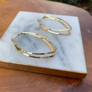 Gold Tone Double Tear Drop Open Hoop Earrings
