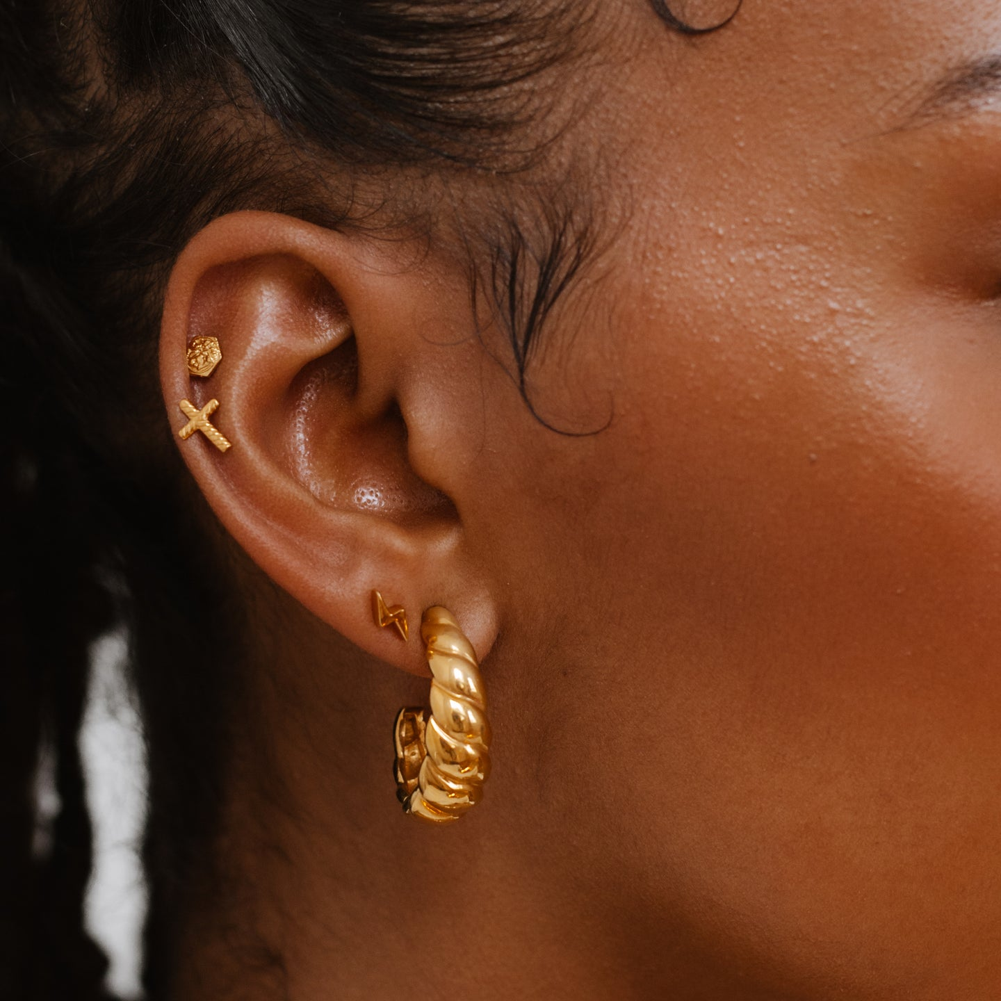 gold stacked earrings