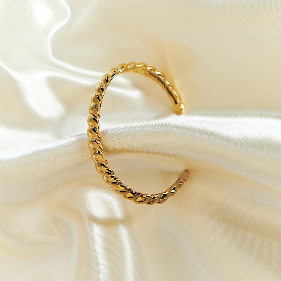 gold vermeil on silver croissant rope twist cuff bracelet bangle