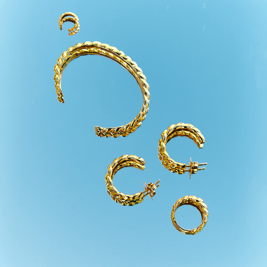 croissant rope style cuff bangle, hoop earrings and ring in gold vermeil plated silver