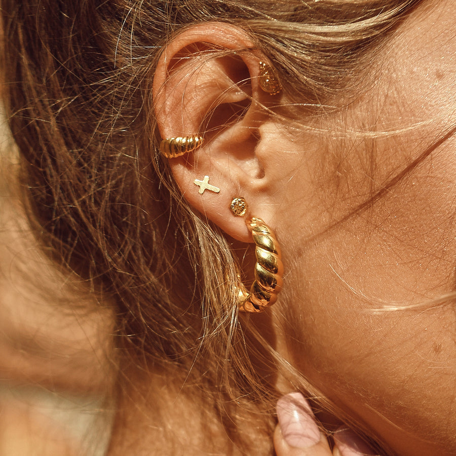gold ear stack look