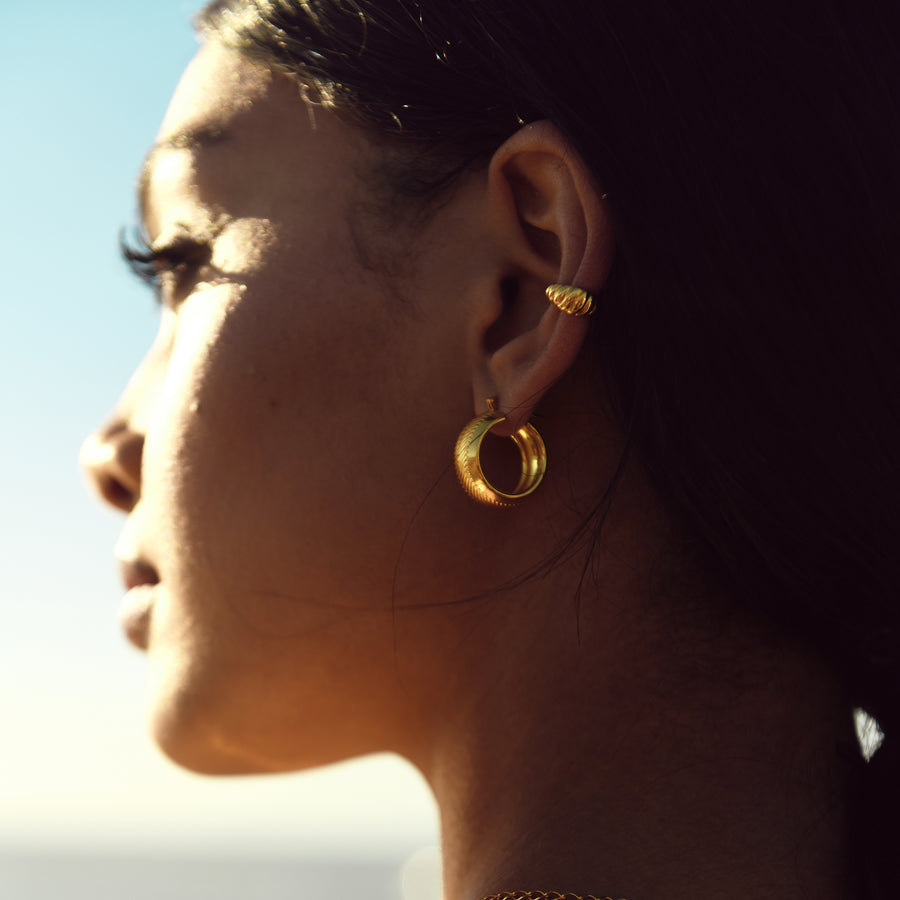 chunky wide gold hoops