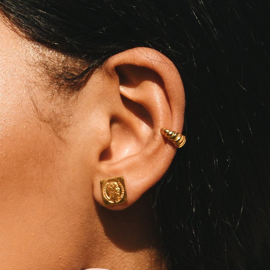 peso coin earrings gold