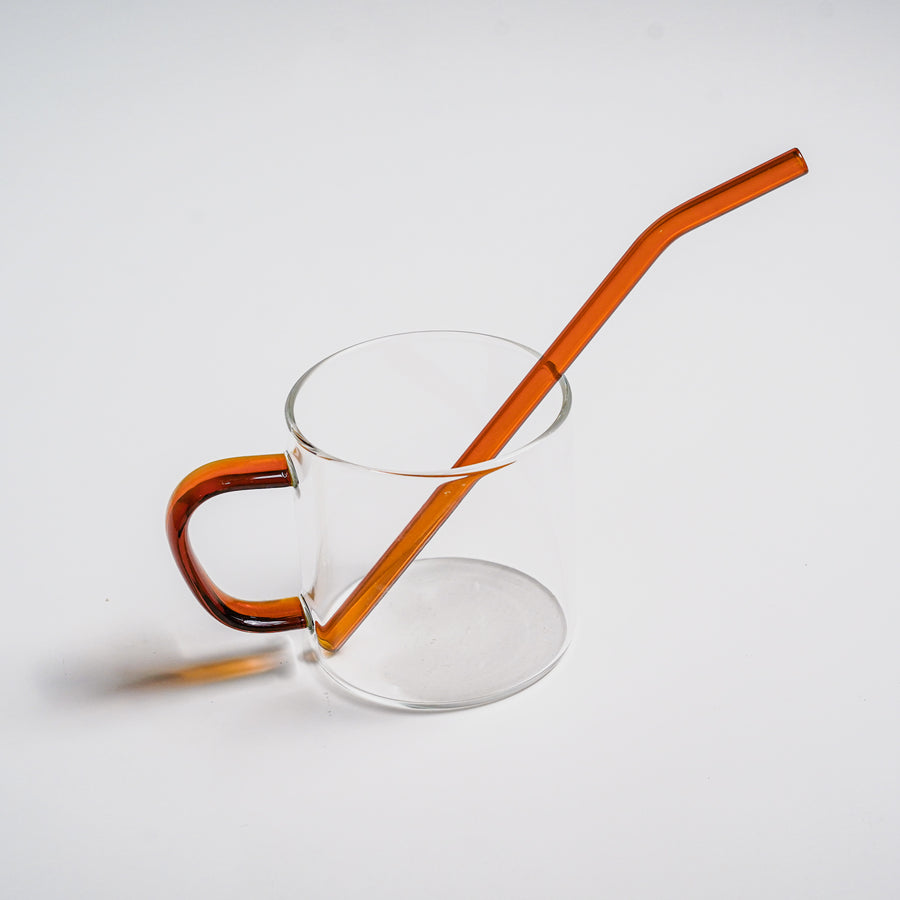 summer glass cup with straw