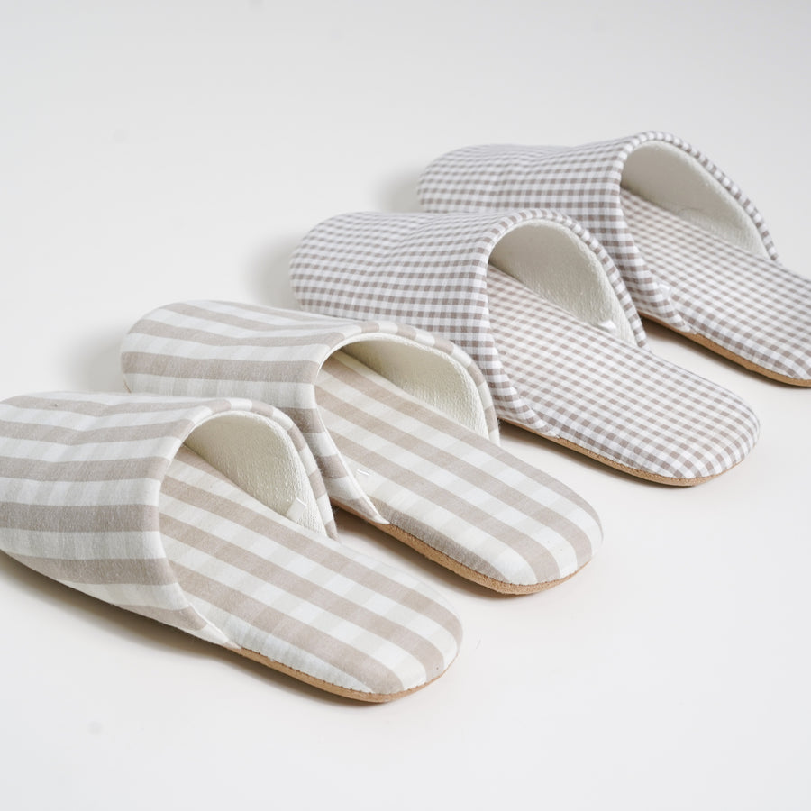 plaid linen slippers