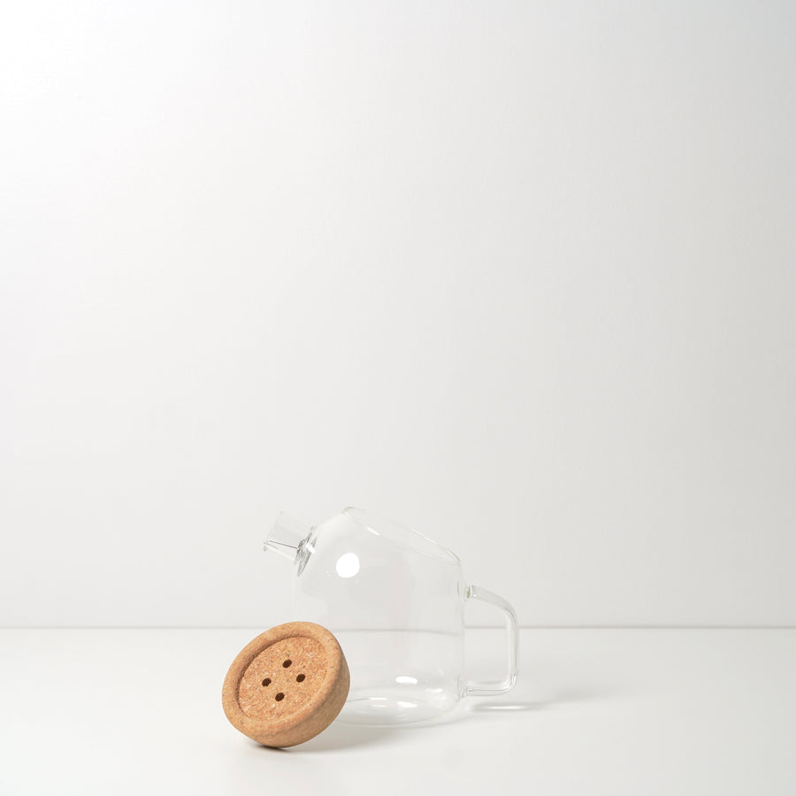 button cork glass teapot