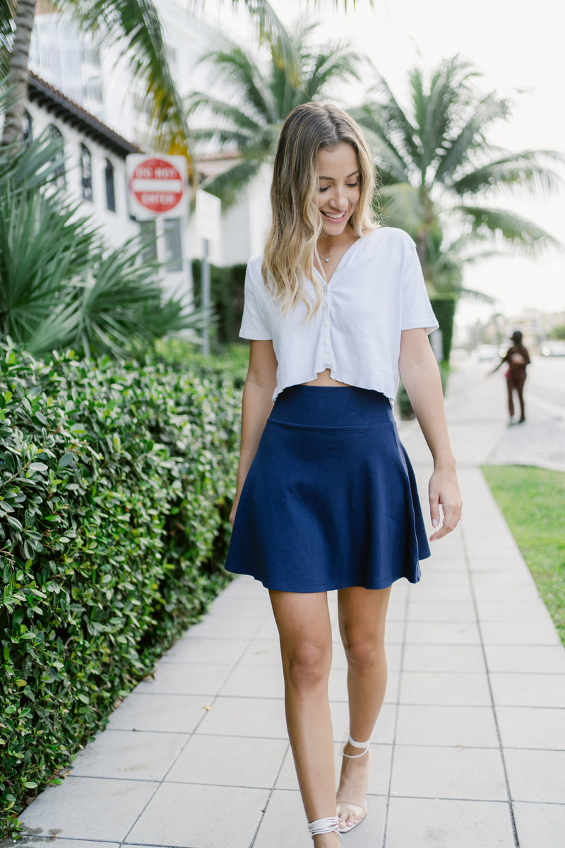 Olive and Tuesday Circle Skirt Navy Front