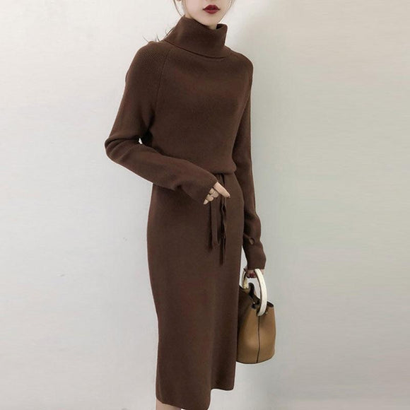 Ash Thicken Turtleneck Sweater Dress With Belt Loop