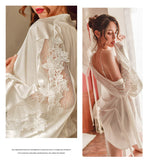 Savana Sexy Embroidery Lace Silk Nightgown