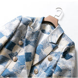 Zan Notched Double Breasted Graffiti Printing Blazer