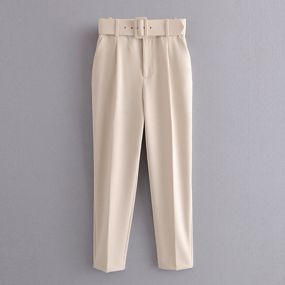 Raquel Cream High Waist Suit Pants