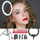 Neewer Ring Light Kit [Upgraded Version-1.8cm Ultra Slim]-18 inches,3200-5600K,Dimmable LED Ring Light with Light Stand(Black)