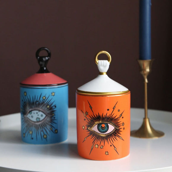 Minati Eye Candle Holder with Hand Lid