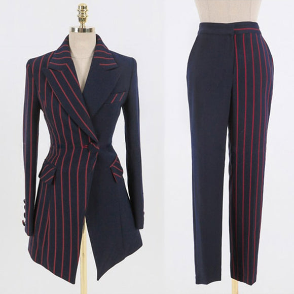 Ari Patchwork Striped Blazer Jacket & Zipper Trousers Suit