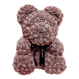 Valencia Teddy Rose Bear Embellished With Artificial Roses  Size 40cm