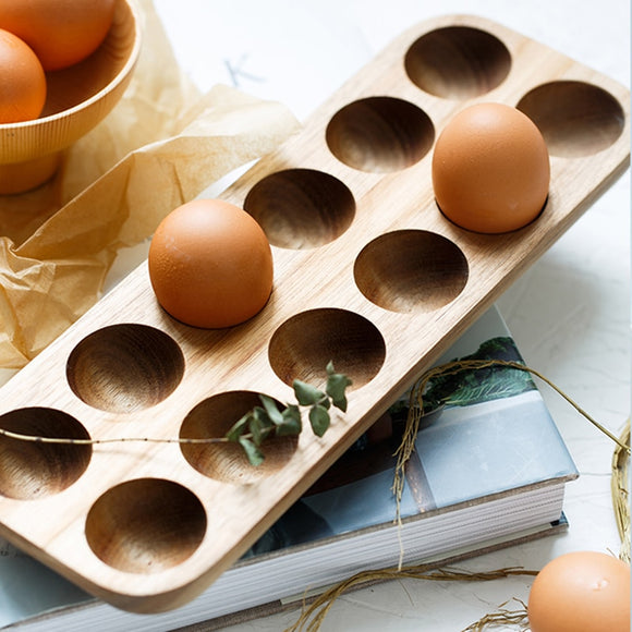 Kenzo Japanese Style Wooden Double Row Egg Storage Box