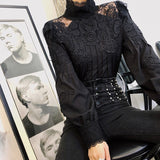 Chivalry Solid Lace Hollow Out Women Stand Collar With Puff Sleeve