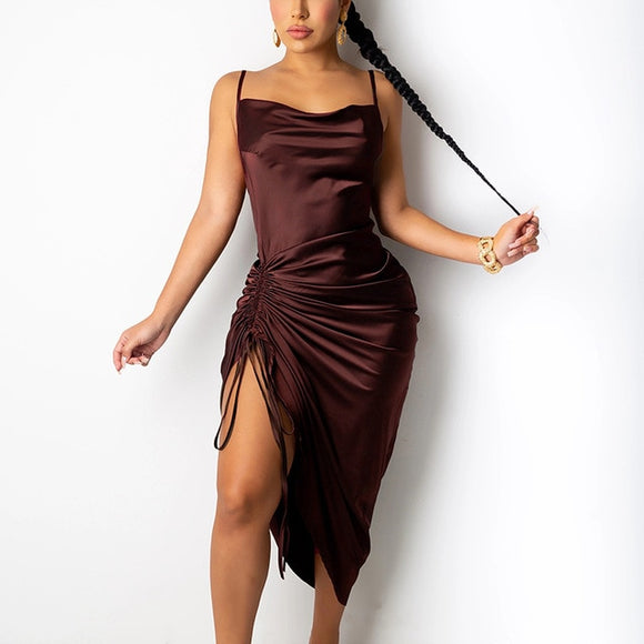 Nina Ruched Satin Spaghetti Straps Dress