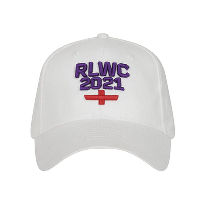 White Stacked Logo Cap - Rugby League World Cup 2021 Shop