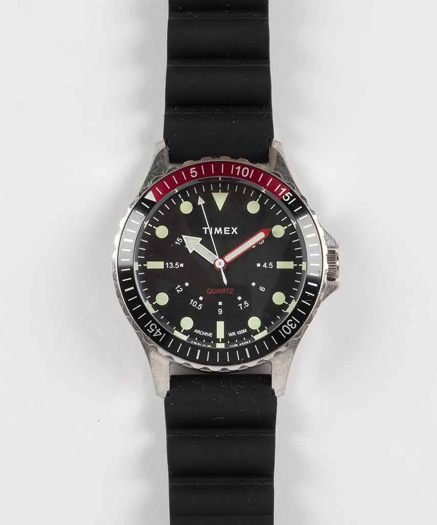 Navi Depth Silicone Strap Steel Black Dial from Timex | watches | Packyard