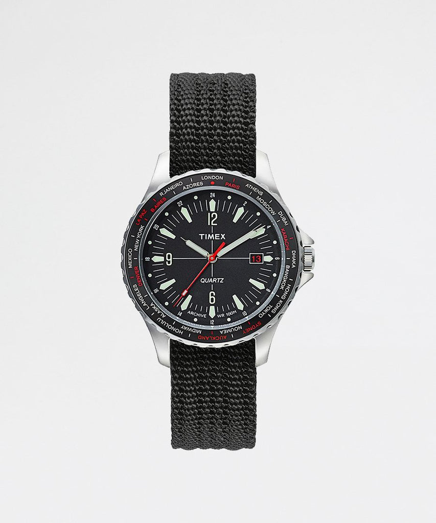 Navi World Time Steel Case Black Dial from Timex | watches | Packyard