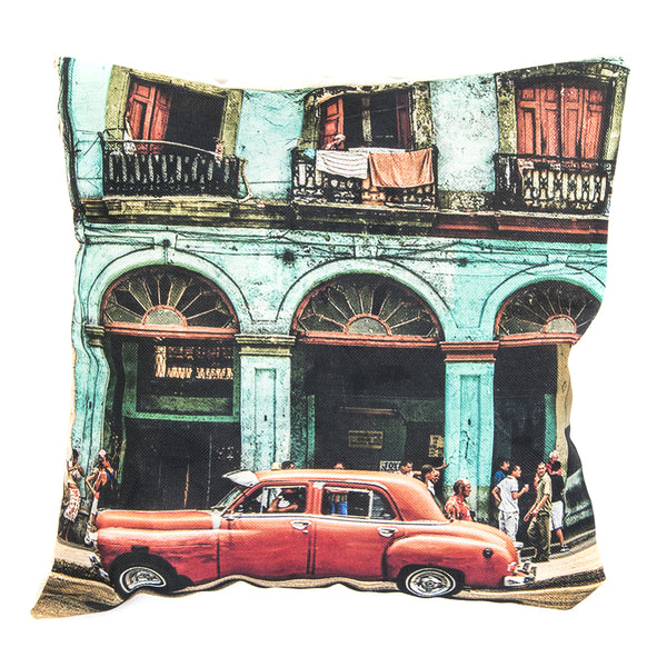COPRICUSCINO 43X43 CM COVER IN TESSUTO RED CAR CUBA