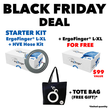 BLACK FRIDAY DEAL: STARTER KIT ErgoFinger® L-XL + HVE Hose Kit + One Free Package of ErgoFinger® L-XL and a Tote Bag