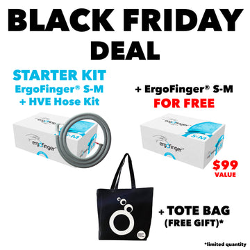 BLACK FRIDAY DEAL: STARTER KIT ErgoFinger® S-M + HVE Hose Kit + One Free Package of ErgoFinger® S-M and a Tote Bag