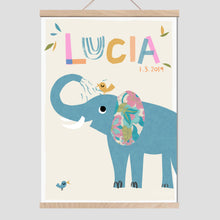Load image into Gallery viewer, Elephant Personalised Name Print