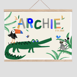 Alligator Personalised Name Print