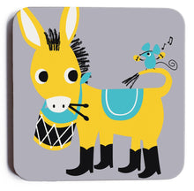 Load image into Gallery viewer, Melamine Coaster 'Drumming Donkey'