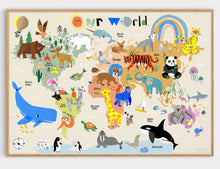 Load image into Gallery viewer, World Map Print of creatures GREAT & small