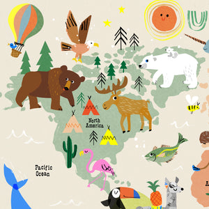 World Map Print of creatures GREAT & small