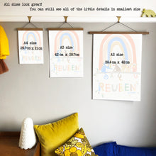 Load image into Gallery viewer, Rainbow with Monkeys Personalised Name Print