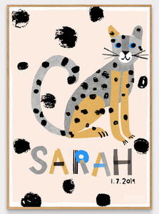 Leopard Personalised Name Print (Pink or Grey)