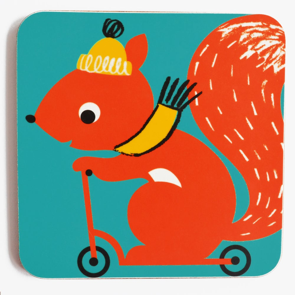 Melamine Coaster 'Scooting Squirrel'