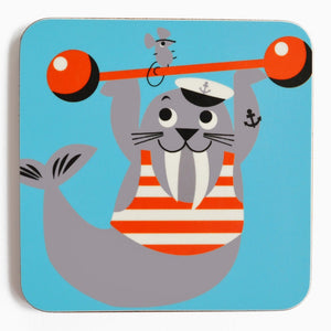 Melamine Coaster 'Weight lifting Walrus'