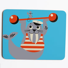 Load image into Gallery viewer, Melamine Placemat 'Weight lifting Walrus'