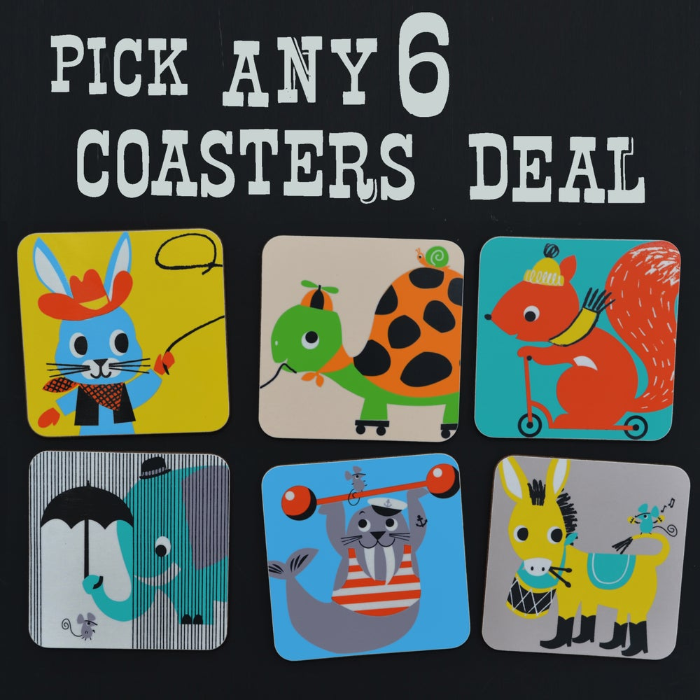 Melamine Coaster Selection of 6