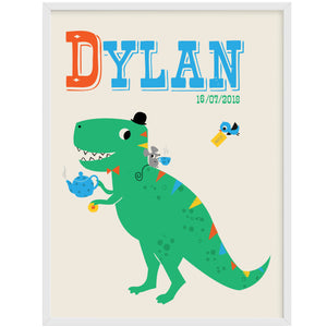 'D' Personalised 'Tea Rex' Dinosaur Name Print