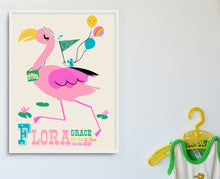 Load image into Gallery viewer, 'F' Personalised 'Flamingo' Name Print